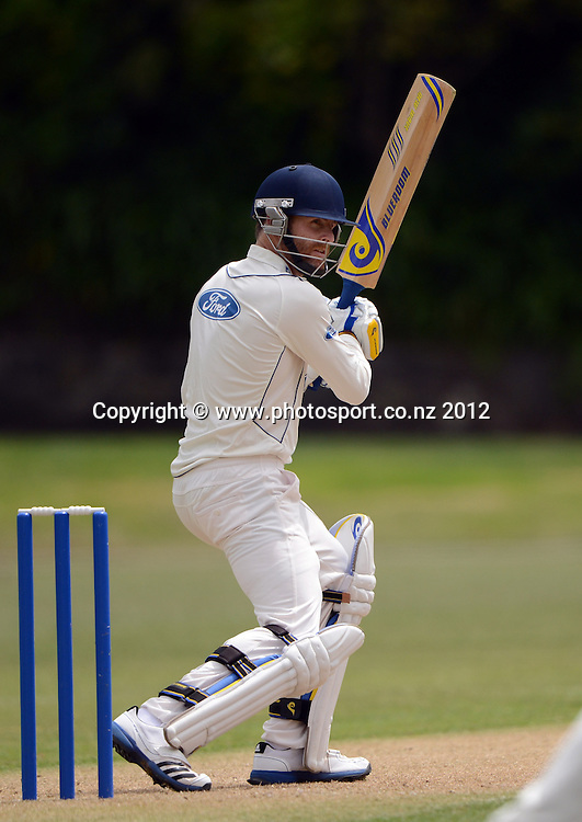 Otago's Aaron Redmond batting. Plunket Shield Cricket, Auckland Aces v Otago Volts at Eden Park Outer Oval. Auckland on Monday 3 December 2012. Photo: Andrew Cornaga/Photosport.co.nz