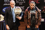 LAS VEGAS, NEVADA, JULY 9, 2009: UFC welterweight champion Georges St. Pierre (left) poses for pictures with challenger Thiago Alves during the pre-fight press conference for UFC 100 inside the House of Blues in Las Vegas, Nevada