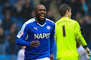 Chesterfield FC forward Sylvan Ebanks-Blake celebrates scoring the opening goal during the Sky Bet League 1 match between Chesterfield and Crewe Alexandra at the Proact stadium, Chesterfield, England on 20 February 2016. Photo by Aaron Lupton.