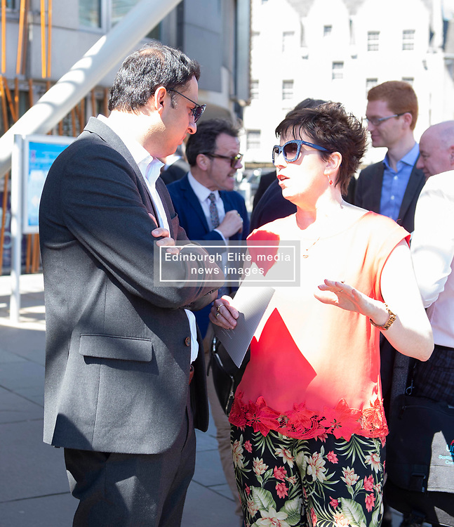 EIS ex President Nicola Fisher chats with Labour MP Anas Sarwar as EIS FELA members continue their strike action with a lobby outside of the Scottish Parliament over a cost of living pay rise. College Lecturers Strike Day Lobby of Parliament, The Scottish Parliament, Edinburgh,  Angie Isac | EEm Thursday 16 May 2019
