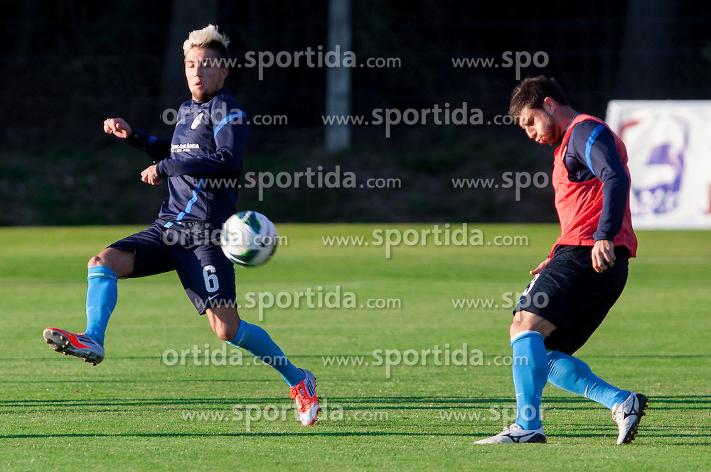 Kevin Kampl and Miso Brecko of Slovenian National football team during training camp for World Cup Brasil 2014 Qualifications on October 8, 2012 in Kidricevo at Ptuj, Slovenia. (Photo By Vid Ponikvar / Sportida)