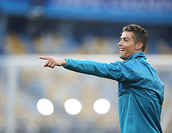 May 25, 2018 - Kiev, Ukraine - Real Madrid's Portuguese forward Cristiano Ronaldo reacts during a Real Madrid team training session at the Olympic Stadium in Kiev, Ukraine on May 25, 2018, on the eve of the UEFA Champions League final football match between Liverpool and Real Madrid. (Credit Image: © Raddad Jebarah/NurPhoto via ZUMA Press)