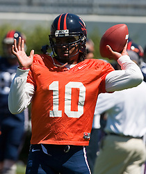 Virginia quarterback Jameel Sewell (10) throws in pre-game warmups.  The Virginia Cavaliers football team played the annual spring football scrimmage at Scott Stadium on the Grounds of the University of Virginia in Charlottesville, VA on April 18, 2009.  (Special to the Daily Progress / Jason O. Watson)