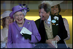 HM The Queen with her racing manager John Warren celebrate winning the Gold Cup with her horse Estimate in the Royal Box at Royal Ascot 2013 Ascot, United Kingdom,<br /> Thursday, 20th June 2013<br /> Picture by Andrew Parsons / i-Images