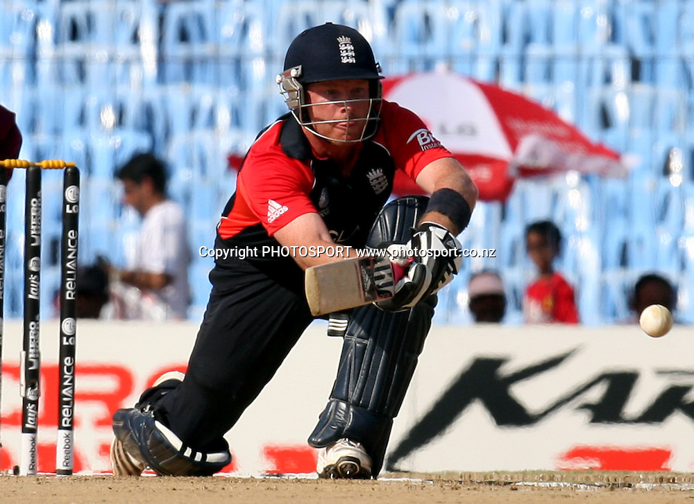 England batsman  Ian Bell plays a shot against West Indies during the ICC Cricket World Cup - 36th Match, Group B England vs West Indies Played at MA Chidambaram Stadium, Chepauk, Chennai (neutral venue) 17 March 2011 - day/night (50-over match)