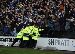 Security staff as Coventry City celebrate after the final whistle of the Emirates FA Cup  Fourth Round match at  Stadium MK Milton Keynes.