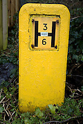 Yellow H type water hydrant in Britain