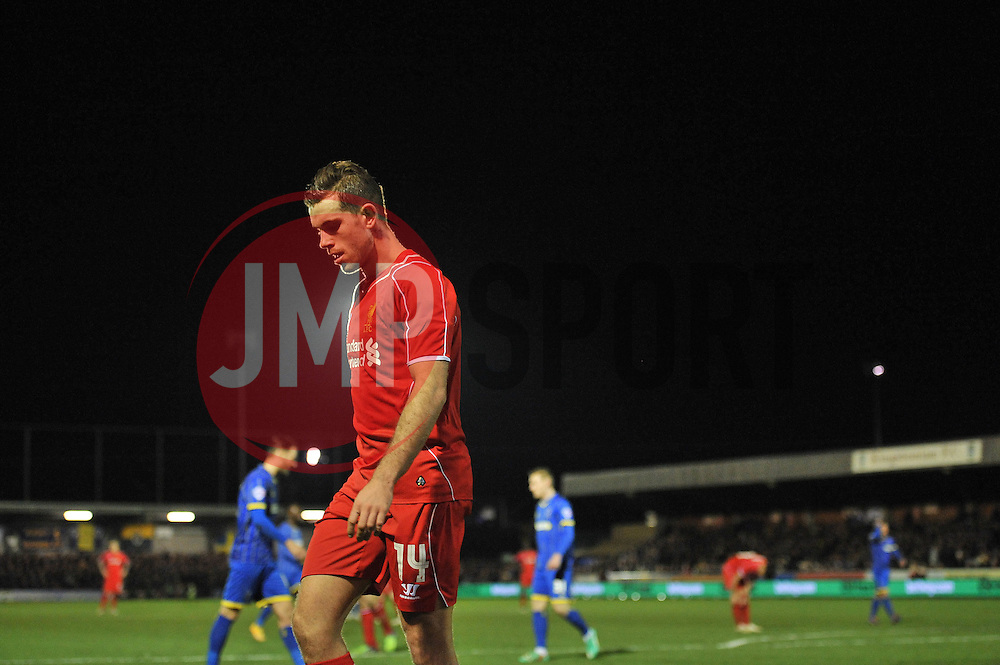 Liverpool's Jordan Henderson at AFC Wimbledon's ground, Cherry Red Records stadium - Photo mandatory by-line: Dougie Allward/JMP - Mobile: 07966 386802 - 05/01/2015 - SPORT - football - London - Cherry Red Records Stadium - AFC Wimbledon v Liverpool - FA Cup - Third Round