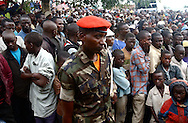Kiwanja, Congo - Rebel leader Laurent Nkunda's look-a-like younger brother, Captain Seko Nkunda, presides at a meeting days after CNDP rebel forces were accused of massacring at least 20 civilians in this town. <br /> (Photo by Miguel Juarez Lugo)