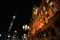 Berlin, Germany. The Rotes Rathaus, Red City Hall is the town hall of Berlin. Fernseturm in the background.
