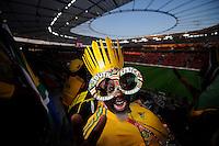 Fussball   International    Freundschaftsspiel   Deutschland - Suedafrika      05.09.09 Ein Fan der Bafana aus Suedafrika vor dem Spiel in der BayArena.