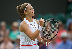 LONDON, ENGLAND - Monday, July 8, 2019: Karolina Muchova (CZE) during the Ladies' Singles fourth round match on Day Seven of The Championships Wimbledon 2019 at the All England Lawn Tennis and Croquet Club. Muchova won 4-6, 7-5, 13-11. (Pic by Kirsten Holst/Propaganda)