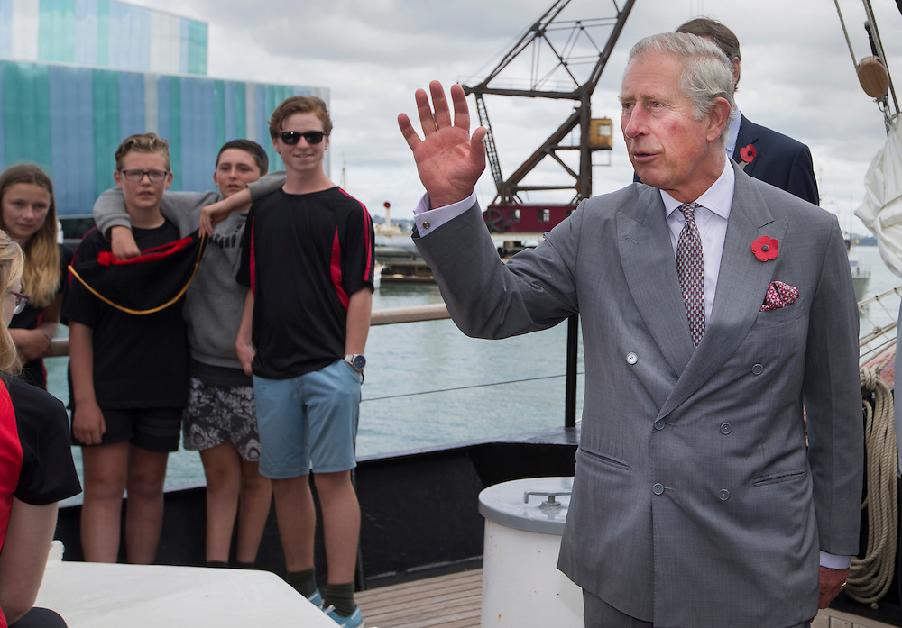 Prince Charles, Prince of Wales visits the Spirit of New Zealand training vessel on Princess Wharf, Auckland, New Zealand, Tuesday, November 10, 2015. Credit:SNPA / NZ Herald, Nick Reed  **POOL**