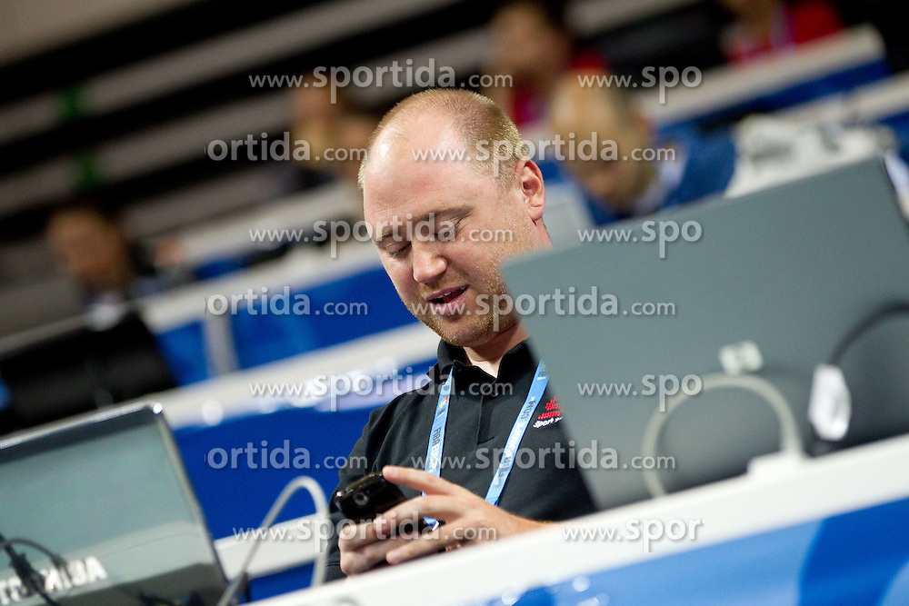 Grega Zvab, journalist of Sport TV during basketball match between National teams of Slovenia and Bulgaria in Group D of Preliminary Round of Eurobasket Lithuania 2011, on August 31, 2011, in Arena Svyturio, Klaipeda, Lithuania.   Slovenia defeated Bulgaria 67 - 59. (Photo by Vid Ponikvar / Sportida)