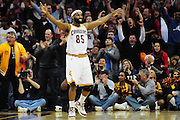 March 29, 2010; Cleveland, OH, USA; Cleveland Cavaliers point guard Baron Davis (85) celebrates after scoring in the final minutes of the fourth quarter against the Miami Heat at Quicken Loans Arena. The Cavaliers beat the Heat 102-90. Mandatory Credit: Jason Miller-US PRESSWIRE