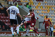 Bradford City defender, on loan from West Ham United, Reece Burke (16)  during the Sky Bet League 1 match between Bradford City and Millwall at the Coral Windows Stadium, Bradford, England on 26 March 2016. Photo by Simon Davies.