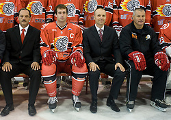 Zvone Suvak, Tomaz Razingar, Slavko Kanalec and Ildar Rahmatullin at HK Acroni Jesenice Team roaster for 2009-2010 season,  on September 03, 2009, in Arena Podmezaklja, Jesenice, Slovenia.  (Photo by Vid Ponikvar / Sportida)