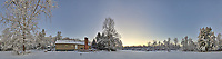 Snowy Backyard Panorama. Composite of 22 images taken with a Leica T camera and 11-23 mm wide-angle zoom lens (ISO 200, 15 mm, f/5.6, 1/30 sec).