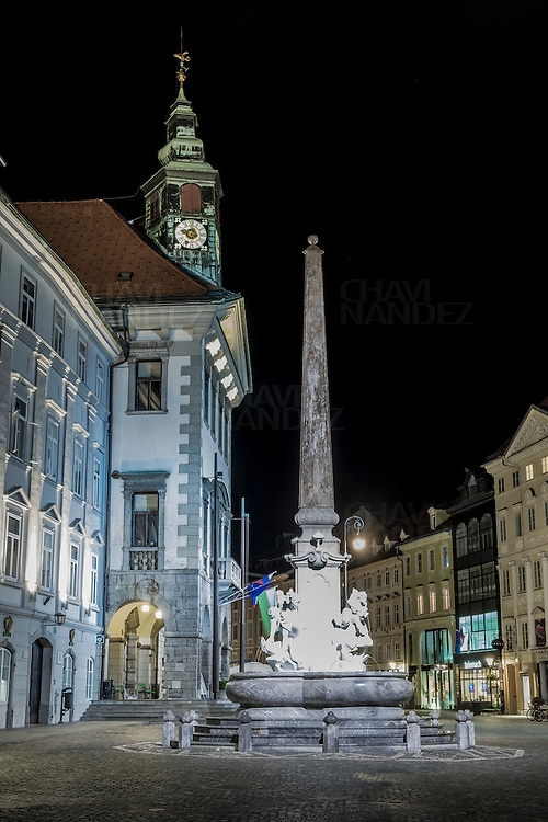 Ljubljana cityscape by night. European Green Capital 2016, Slovenia