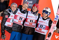 25.11.2017, Nordic Arena, Ruka, FIN, FIS Weltcup Ski Sprung, Nordic Opening, Kuusamo, Teambewerb, im Bild Anders Fannemel (NOR), Robert Johansson (NOR), Daniel Andre Tande (NOR), Johann Andre Forfang (NOR) // Anders Fannemel of Norway, Robert Johansson of Norway, Daniel Andre Tande of Norway, Johann Andre Forfang of Norway during the Team Event of the FIS Skijumping World Cup of the Nordic Opening at the Nordic Arena in Ruka, Finland on 2017/11/25. EXPA Pictures © 2017, PhotoCredit: EXPA/ JFK