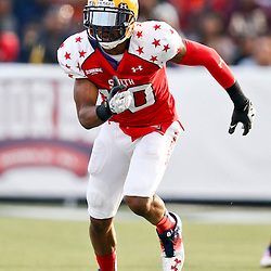 Jan 26, 2013; Mobile, AL, USA; Senior Bowl South Squad wide receiver Russell Shepard of LSU (10) against the Senior Bowl north squad during the first half of the Senior Bowl at Ladd-Peebles Stadium. Mandatory Credit: Derick E. Hingle-USA TODAY Sports
