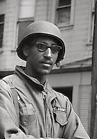 US National Guard soldier at Peoples Park  University of California Student protest & riots in Berkeley California 1969