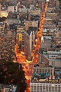 New York. elevated view on Manhattan south and Flatiron building. beetween broadway and fifth avenue at madisson square park  New york - United states aerial view / Sud de Manhattan, Flatiron building entre Broadway et la cinquieme avenue a Madisson square park  New york - Etats unis  vue aerienne