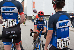 Hayley Jones (GBR) of Team WNT discusses the stage with her team mates after Stage 1 of the Ladies Tour of Norway - a 101.5 km road race, between Halden and Mysen on August 18, 2017, in Ostfold, Norway. (Photo by Balint Hamvas/Velofocus.com)