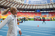 Justyna Kasprzyk from Poland while women's high jump qualification during the 14th IAAF World Athletics Championships at the Luzhniki stadium in Moscow on August 15, 2013.<br /> <br /> Russian Federation, Moscow, August 15, 2013<br /> <br /> Picture also available in RAW (NEF) or TIFF format on special request.<br /> <br /> For editorial use only. Any commercial or promotional use requires permission.<br /> <br /> Mandatory credit:<br /> Photo by © Adam Nurkiewicz / Mediasport