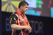 Mensur Suljovic during the BetVictor World Matchplay Darts 2018 final at Winter Gardens, Blackpool, United Kingdom on 29 July 2018. Picture by Shane Healey.