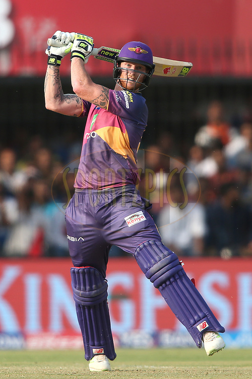 Ben Stokes of Rising Pune Supergiant pulls a delivery for six during match 4 of the Vivo 2017 Indian Premier League between the Kings XI Punjab and the Rising Pune Supergiant held at the Holkar Cricket Stadium in Indore, India on the 8th April 2017<br /> <br /> Photo by Shaun Roy - IPL - Sportzpics