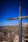 Cross on top of Cir Spitz Via Ferrata, Italian Dolomites