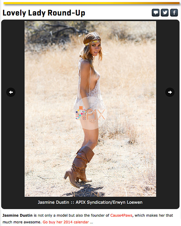 Jasmine Dustin in SI.com promo for 2014 Calendar offered exclusively by TF Publishing http://www.tfpublishing.com/products/2014-jasmine-dustin-wall-calendar<br /> <br /> Image from our shoot 'Jasmine Dustin :: desert flower', available for worldwide use with approval:  http://www.apixsyndication.com/gallery/Jasmine-Dustin-desert-flower/G0000X1SKXklz1FE/C0000UZOB3l1p.ts