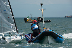 2012 Olympic Games London / Weymouth<br /> Finn Medal Race<br /> Ainslie Ben, (GBR, Finn) celebrate his 4th gold medal with the coach David Howlett