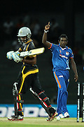Ajantha Mendis celebrates the wicket of Kithruwan Vithanage during match 5 of the Sri Lankan Premier League between Kandurata Warriors and Nagenahira Nagas held at the Premadasa Stadium in Colombo, Sri Lanka on the 13th August 2012<br />  <br /> Photo by Ron Gaunt/SPORTZPICS/SLPL