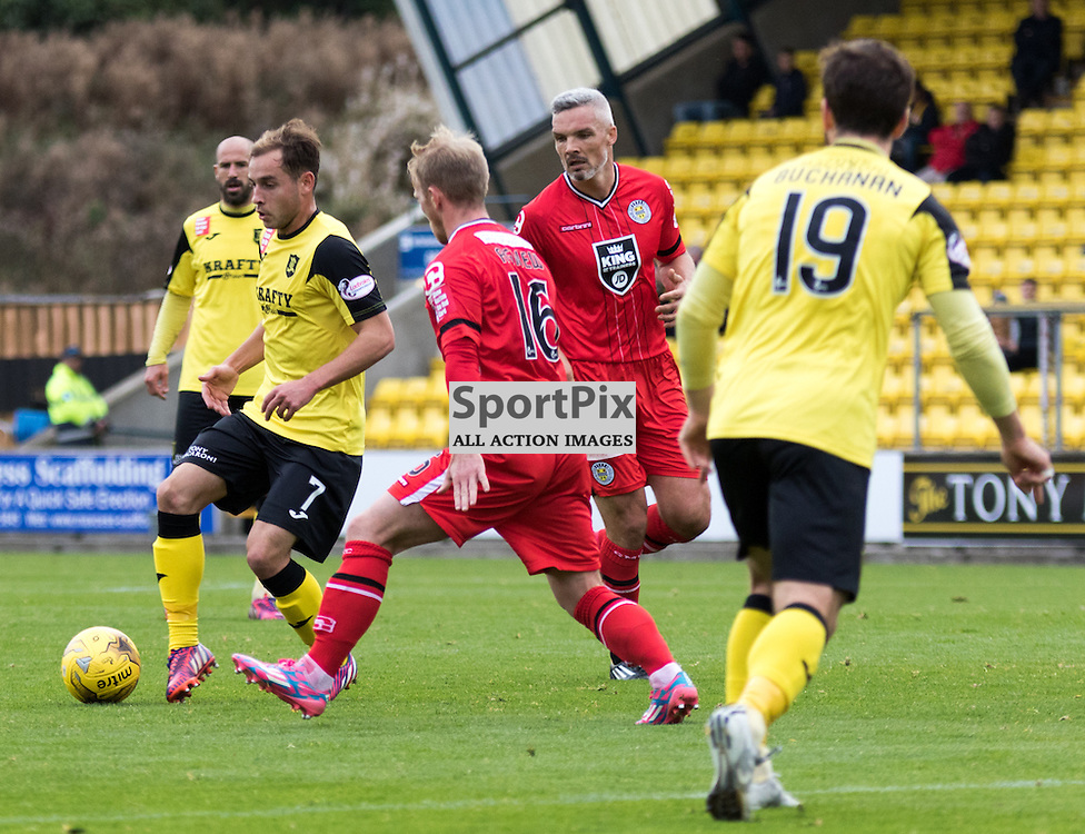 Livingston's Scott Pittman on the ball as St. Mirren's Scott Agnew closes him down in the Livingston vs St. Mirren Scottish Championship 17th October 2015......(c) MARK INGRAM | SportPix.org.uk