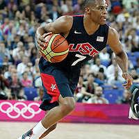 10 August 2012: USA Russell Westbrook dribbles during 109-80 Team USA victory over Team Argentina, during the men's basketball semi-finals, at the North Greenwich Arena, in London, Great Britain.