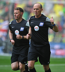 Referee Mike Deene, and Assistant Stuart Burt,  warm up, Middlesbrough v Norwich, Sky Bet Championship, Play Off Final, Wembley Stadium, Monday  25th May 2015