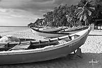 View of fishermen boats on the beach