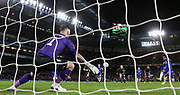 GOAL - Chelsea Midfielder Willian shoots a penalty kick past Sheffield Wednesday goalkeeper Keiren Westwood (1)  1-0 during the The FA Cup fourth round match between Chelsea and Sheffield Wednesday at Stamford Bridge, London, England on 27 January 2019.