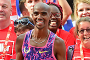 Sir Mo Farah celebrates his last run at The London Stadium during the Muller Anniversary Games at the London Stadium, London, England on 9 July 2017. Photo by Jon Bromley.