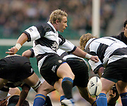 2004_'The Gartmore Challenge' - Barbarians_vs_New-Zealand..Traditional 'Haka' before the game.Baa baa's scrum half Justin Marshal  kicking clear ..04.12.2004 Photo  Peter Spurrier. .email images@intersport-images.com...