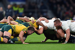 The Australia and England packs in action at a scrum - Mandatory byline: Patrick Khachfe/JMP - 07966 386802 - 24/11/2018 - RUGBY UNION - Twickenham Stadium - London, England - England v Australia - Quilter International