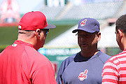 ANAHEIM, CA - APRIL 30:  Manager Terry Francona #17 of the Cleveland Indians talks to manager Mike Scioscia #14 of the Los Angeles Angels of Anaheim during batting practice before the game against the Los Angeles Angels of Anaheim at Angel Stadium on Wednesday, April 30, 2014 in Anaheim, California. The Angels won the game 7-1. (Photo by Paul Spinelli/MLB Photos via Getty Images) *** Local Caption *** Terry Francona;Mike Scioscia