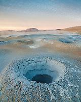 Sunrise at Námafjall geothermal area, Lake Mývatn, North Iceland.