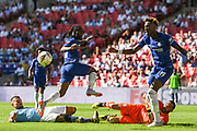 Chelsea Forward Tammy Abraham (19) has his shot at goal blocked by Manchester City Goalkeeper Claudio Bravo (1) with Chelsea Defender Victor Moses (15) not able to follow if up during the FA Community Shield match between Chelsea and Manchester City at Wembley Stadium, London, England on 5 August 2018. Picture by Stephen Wright.