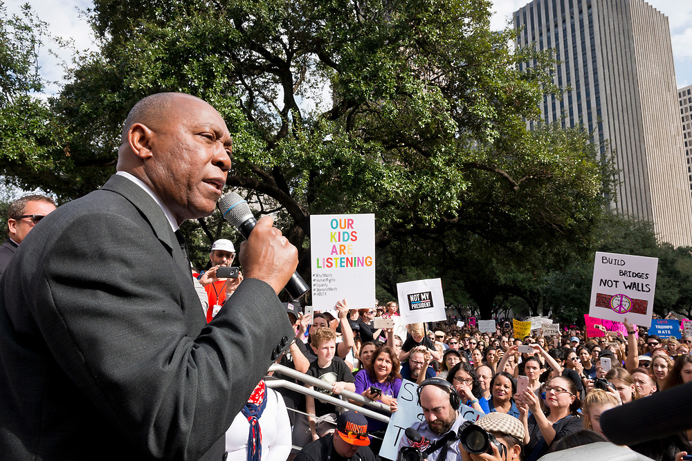 On January 21 2017, Houston Mayor Sylvester Turner addresses the Womens March crowd assembled at Houston City Hall. Of concern are women's rights, gender equality, LGBTQ rights, national immigration policy, and education funding.