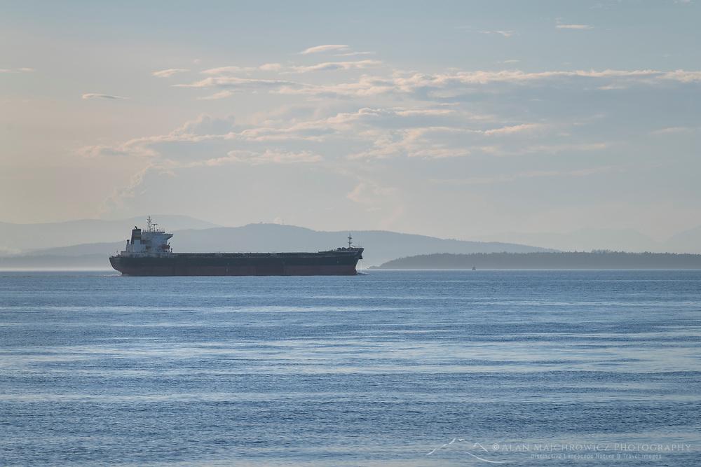 Cargo freighter sailing in the Strait of Juan De Fuca Washington