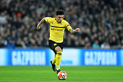 February 13, 2019 - London, England, United Kingdom - Borussia Dortmund midfielder Jadon Sancho makes a break during the UEFA Champions League match between Tottenham Hotspur and Ballspielverein Borussia 09 e.V. Dortmund at Wembley Stadium, London on Wednesday 13th February 2019. (Credit: Jon Bromley | MI News & Sport Ltd) (Credit Image: © Mi News/NurPhoto via ZUMA Press)