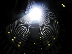 May 18, 2016 - Johannesburg, South Africa - The inner courtard of the Ponte City tower in the neighborhood of Hillbrow in Johannesburg, South Africa, 18 May 2016. For a long time the Ponte City tower was considered the tallest urban slum in South Africa and stood for murder and homicide. Photo:Julia Naue/dpa (Credit Image: © Julia Naue/DPA via ZUMA Press)